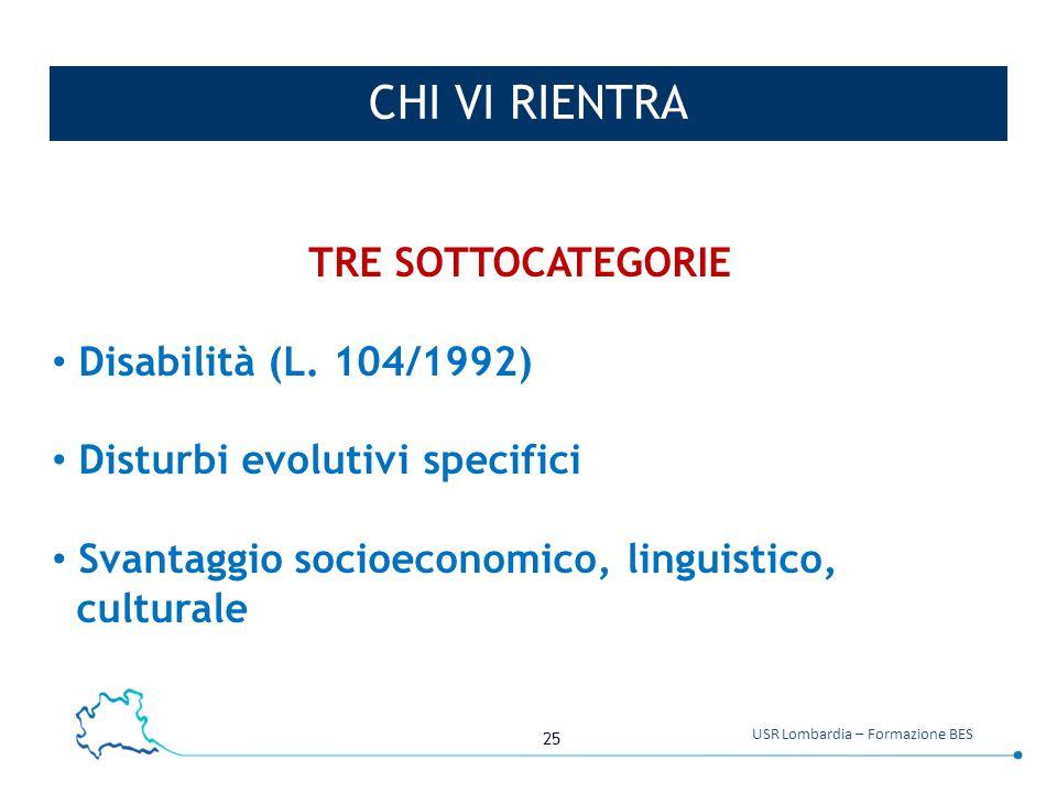 25 USR Lombardia – Formazione BES CHI VI RIENTRA TRE SOTTOCATEGORIE Disabilità (L. 104/1992) Disturbi evolutivi specifici Svantaggio socioeconomico, l