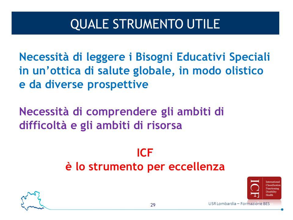 29 USR Lombardia – Formazione BES QUALE STRUMENTO UTILE Necessità di leggere i Bisogni Educativi Speciali in un'ottica di salute globale, in modo olis