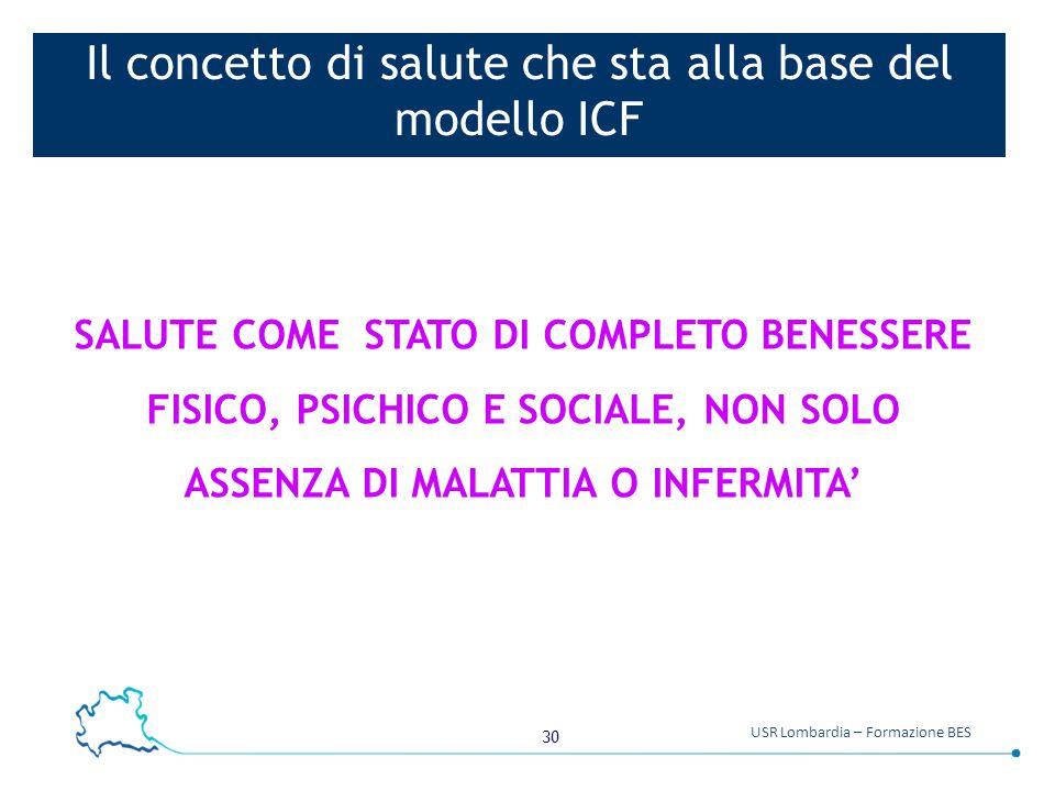 30 USR Lombardia – Formazione BES Il concetto di salute che sta alla base del modello ICF SALUTE COME STATO DI COMPLETO BENESSERE FISICO, PSICHICO E S