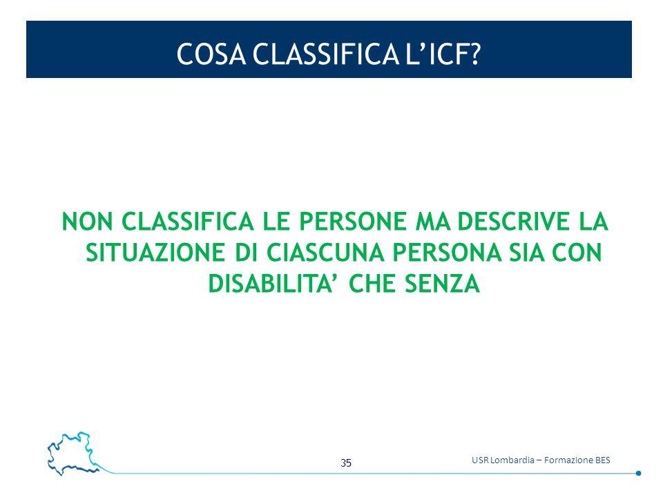 35 USR Lombardia – Formazione BES COSA CLASSIFICA L'ICF? NON CLASSIFICA LE PERSONE MA DESCRIVE LA SITUAZIONE DI CIASCUNA PERSONA SIA CON DISABILITA' C