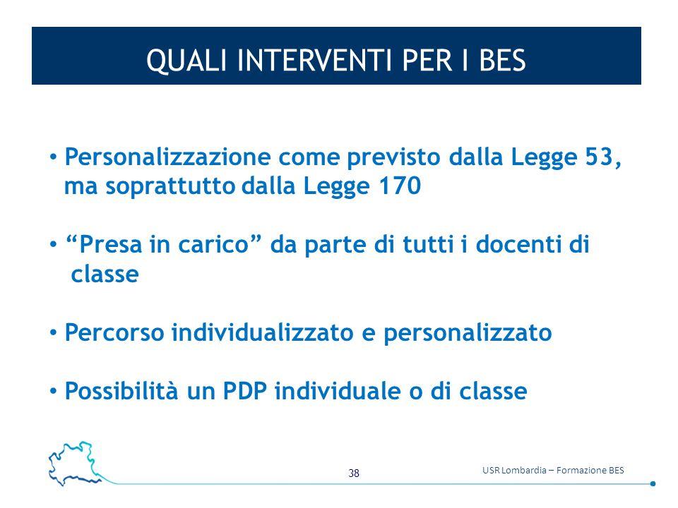 """38 USR Lombardia – Formazione BES QUALI INTERVENTI PER I BES Personalizzazione come previsto dalla Legge 53, ma soprattutto dalla Legge 170 """"Presa in"""