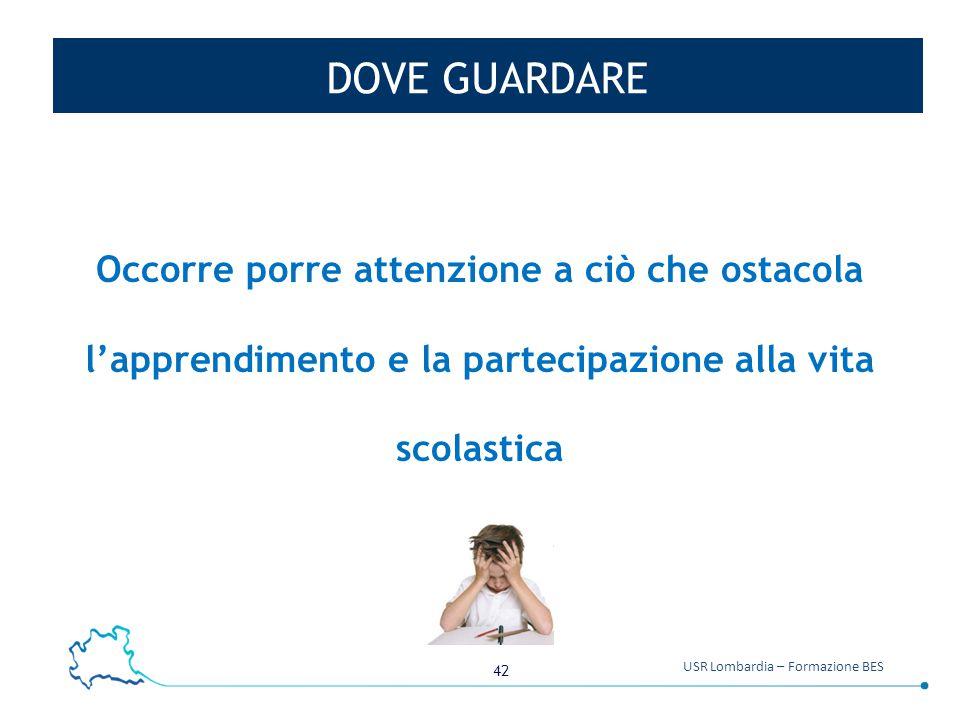 42 USR Lombardia – Formazione BES DOVE GUARDARE Occorre porre attenzione a ciò che ostacola l'apprendimento e la partecipazione alla vita scolastica