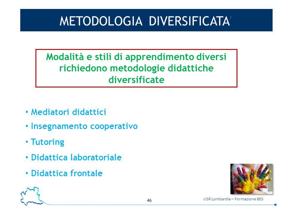 46 USR Lombardia – Formazione BES METODOLOGIA DIVERSIFICATA' Mediatori didattici Insegnamento cooperativo Tutoring Didattica laboratoriale Didattica f