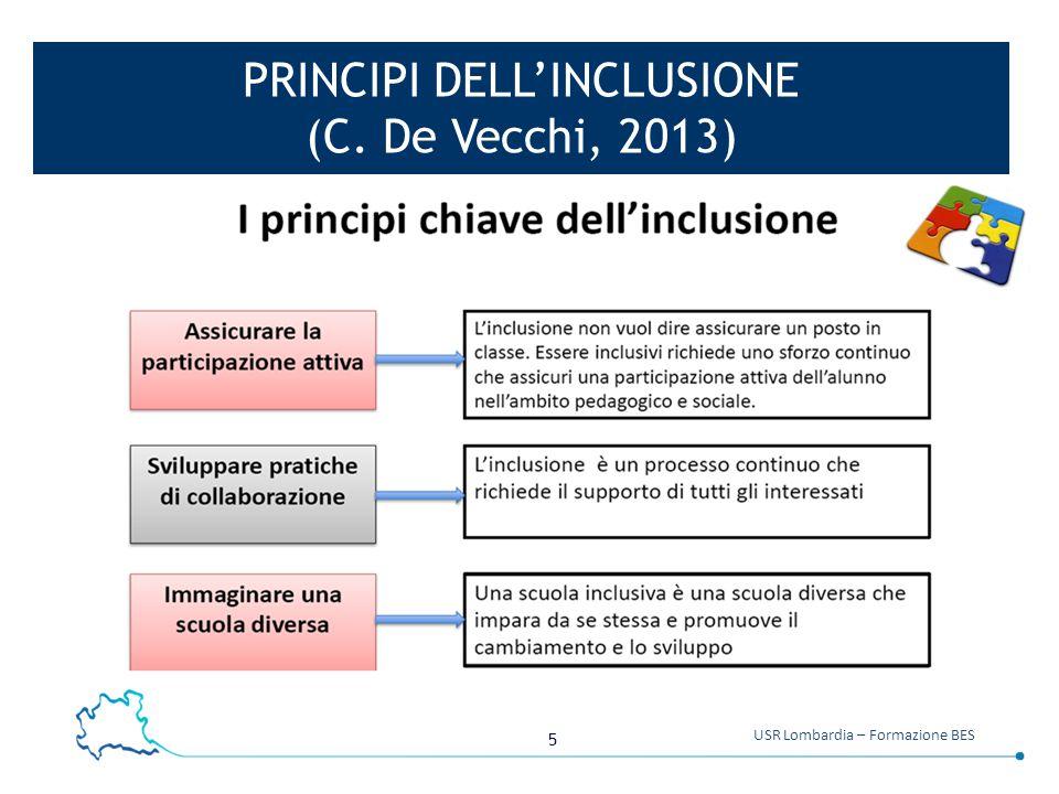5 USR Lombardia – Formazione BES PRINCIPI DELL'INCLUSIONE (C. De Vecchi, 2013)
