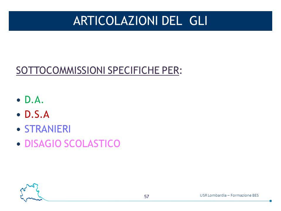 57 USR Lombardia – Formazione BES ARTICOLAZIONI DEL GLI SOTTOCOMMISSIONI SPECIFICHE PER: D.A. D.S.A STRANIERI DISAGIO SCOLASTICO