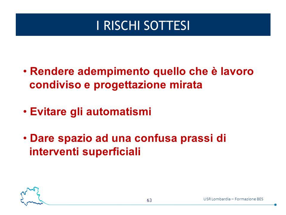 63 USR Lombardia – Formazione BES I RISCHI SOTTESI Rendere adempimento quello che è lavoro condiviso e progettazione mirata Evitare gli automatismi Da
