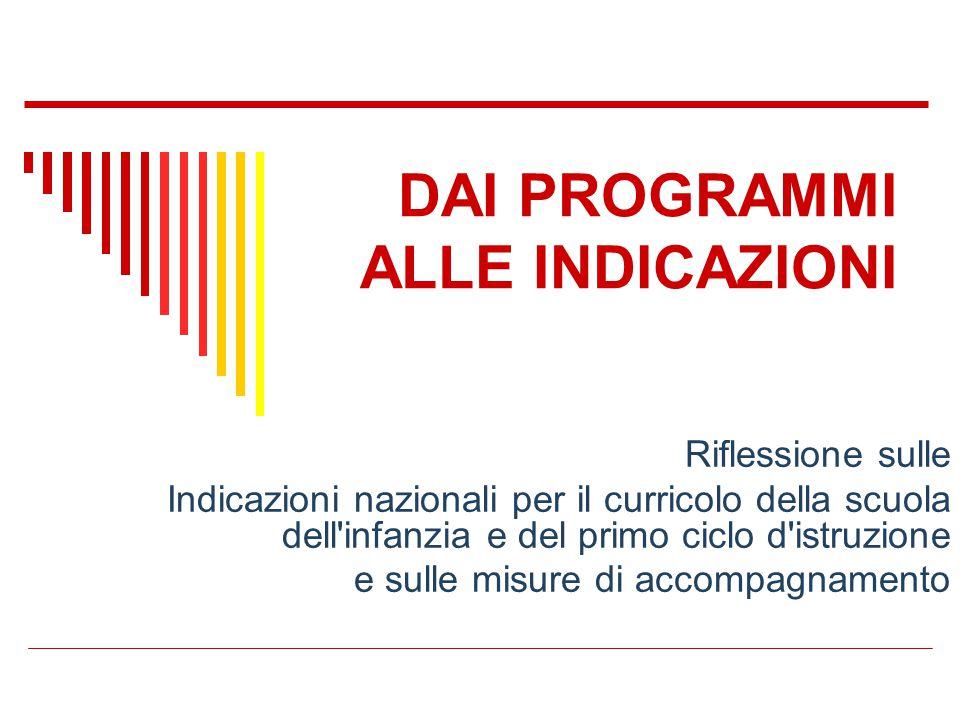 Riflessione sulle Indicazioni nazionali per il curricolo della scuola dell'infanzia e del primo ciclo d'istruzione e sulle misure di accompagnamento D