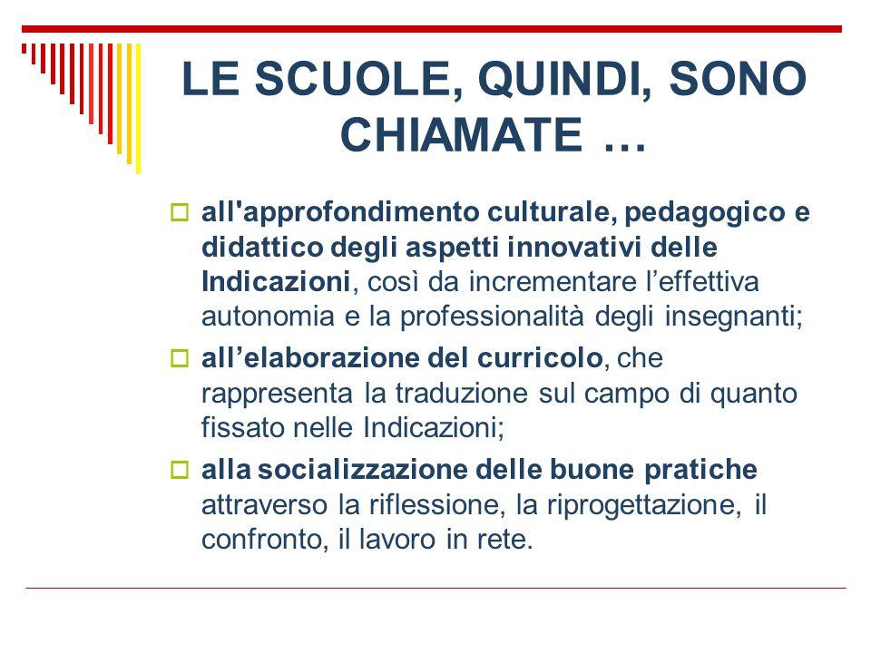 LE SCUOLE, QUINDI, SONO CHIAMATE …  all'approfondimento culturale, pedagogico e didattico degli aspetti innovativi delle Indicazioni, così da increme