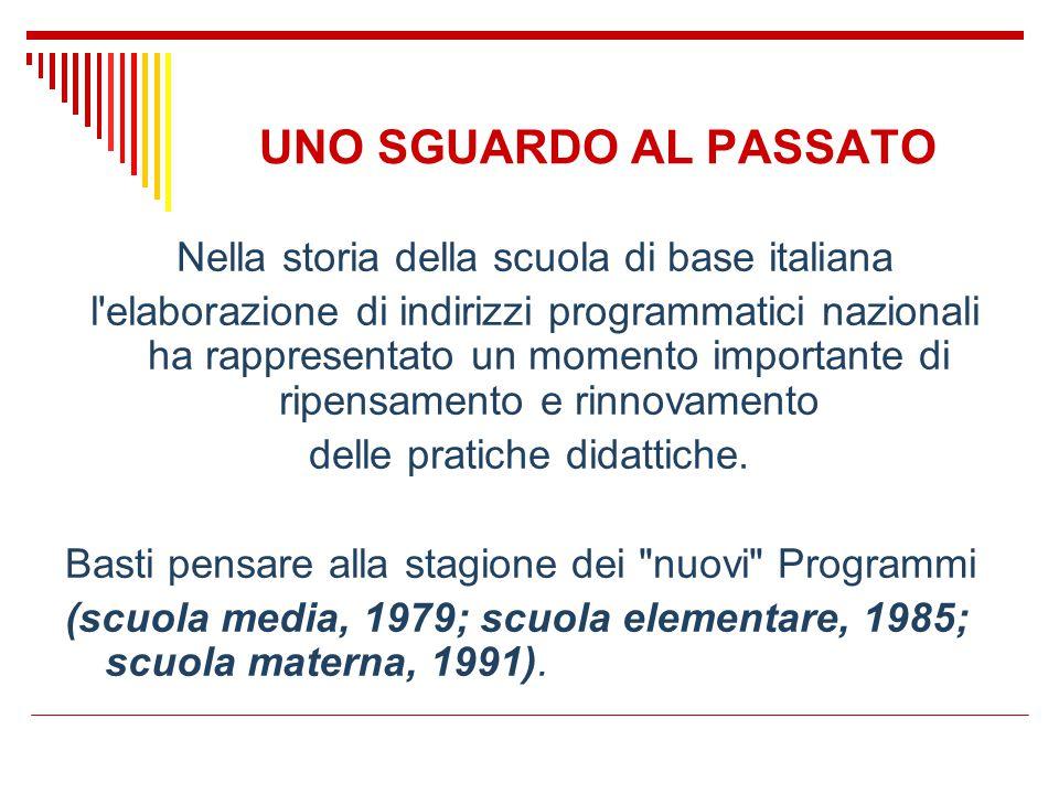UNO SGUARDO AL PASSATO Nella storia della scuola di base italiana l'elaborazione di indirizzi programmatici nazionali ha rappresentato un momento impo