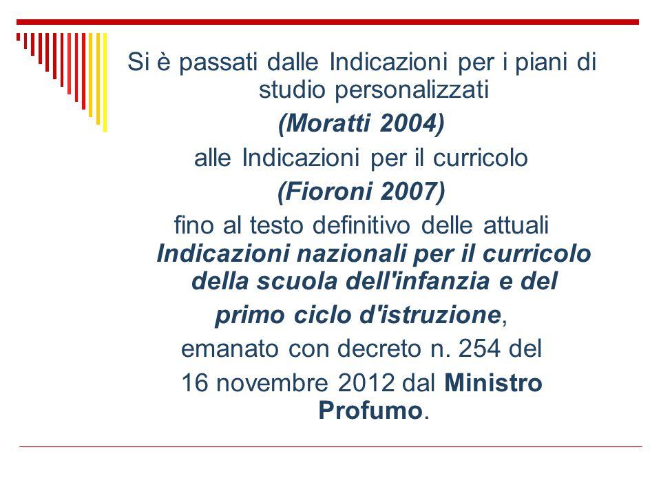 Si è passati dalle Indicazioni per i piani di studio personalizzati (Moratti 2004) alle Indicazioni per il curricolo (Fioroni 2007) fino al testo defi