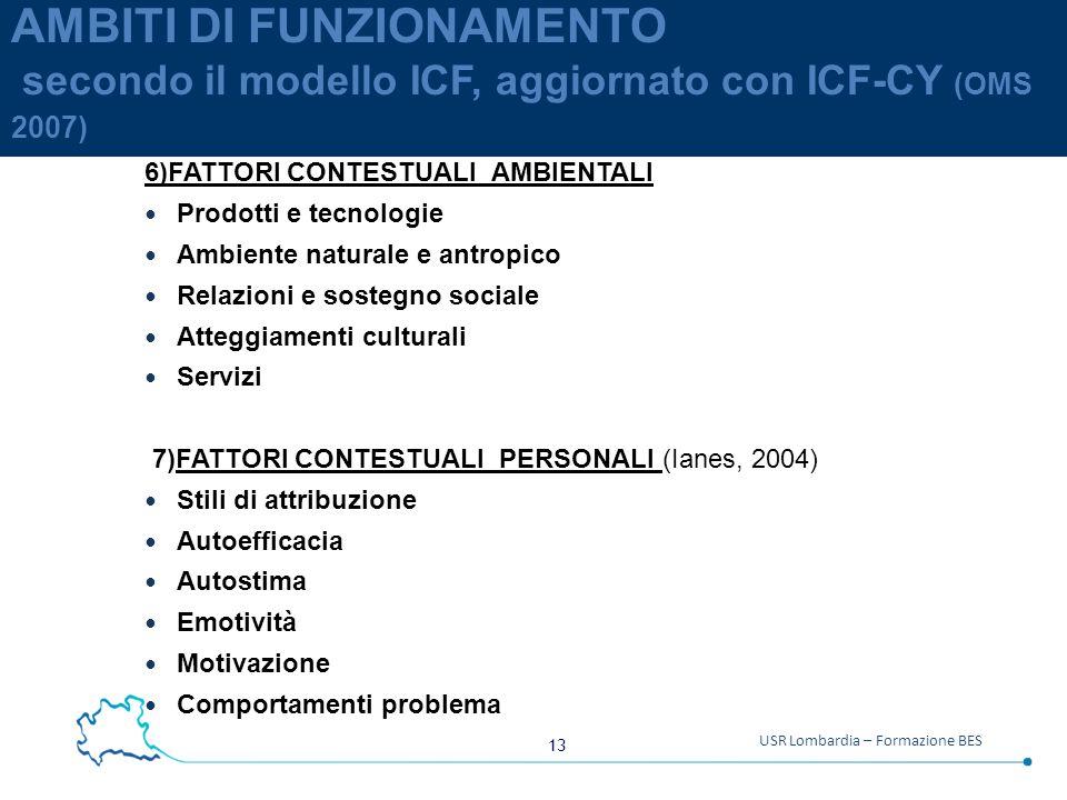 13 USR Lombardia – Formazione BES AMBITI DI FUNZIONAMENTO secondo il modello ICF, aggiornato con ICF-CY (OMS 2007) 6)FATTORI CONTESTUALI AMBIENTALI Prodotti e tecnologie Ambiente naturale e antropico Relazioni e sostegno sociale Atteggiamenti culturali Servizi 7)FATTORI CONTESTUALI PERSONALI (Ianes, 2004) Stili di attribuzione Autoefficacia Autostima Emotività Motivazione Comportamenti problema
