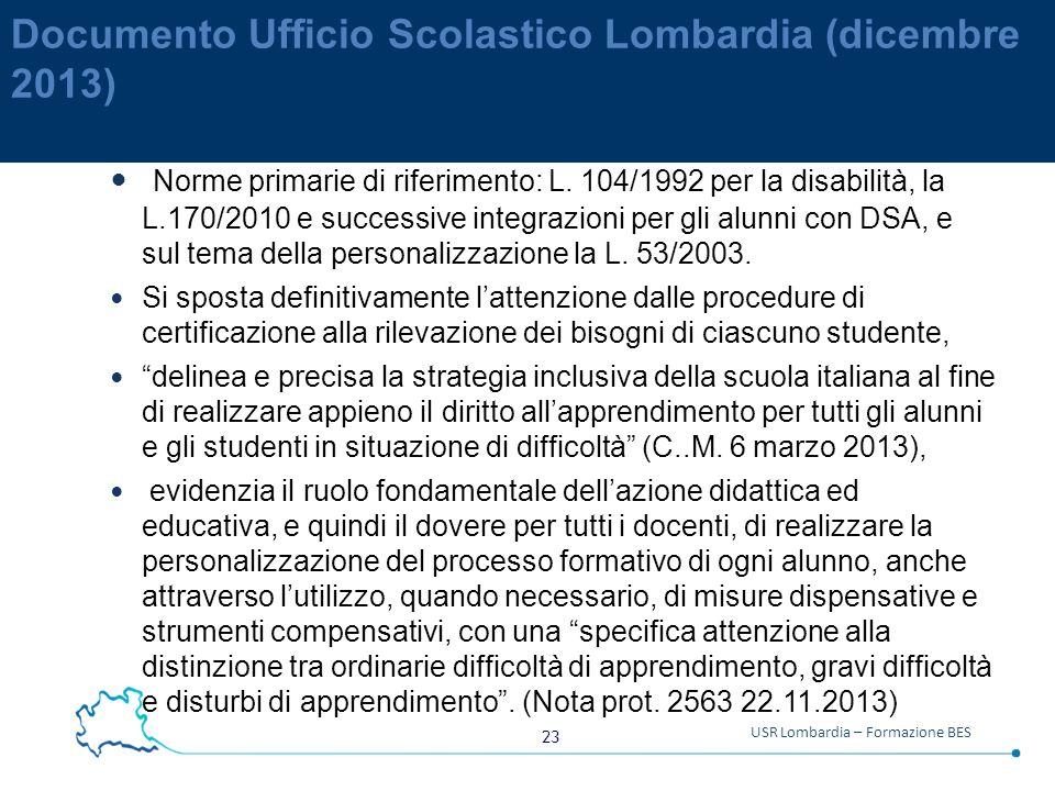 23 USR Lombardia – Formazione BES Documento Ufficio Scolastico Lombardia (dicembre 2013) Norme primarie di riferimento: L.