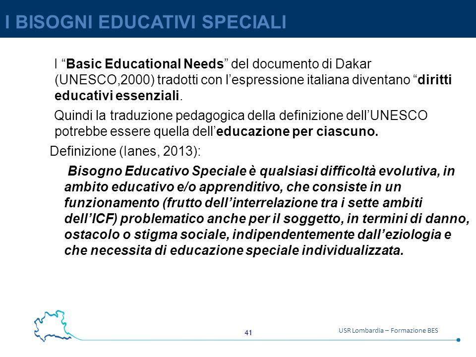 41 USR Lombardia – Formazione BES I BISOGNI EDUCATIVI SPECIALI I Basic Educational Needs del documento di Dakar (UNESCO,2000) tradotti con l'espressione italiana diventano diritti educativi essenziali.