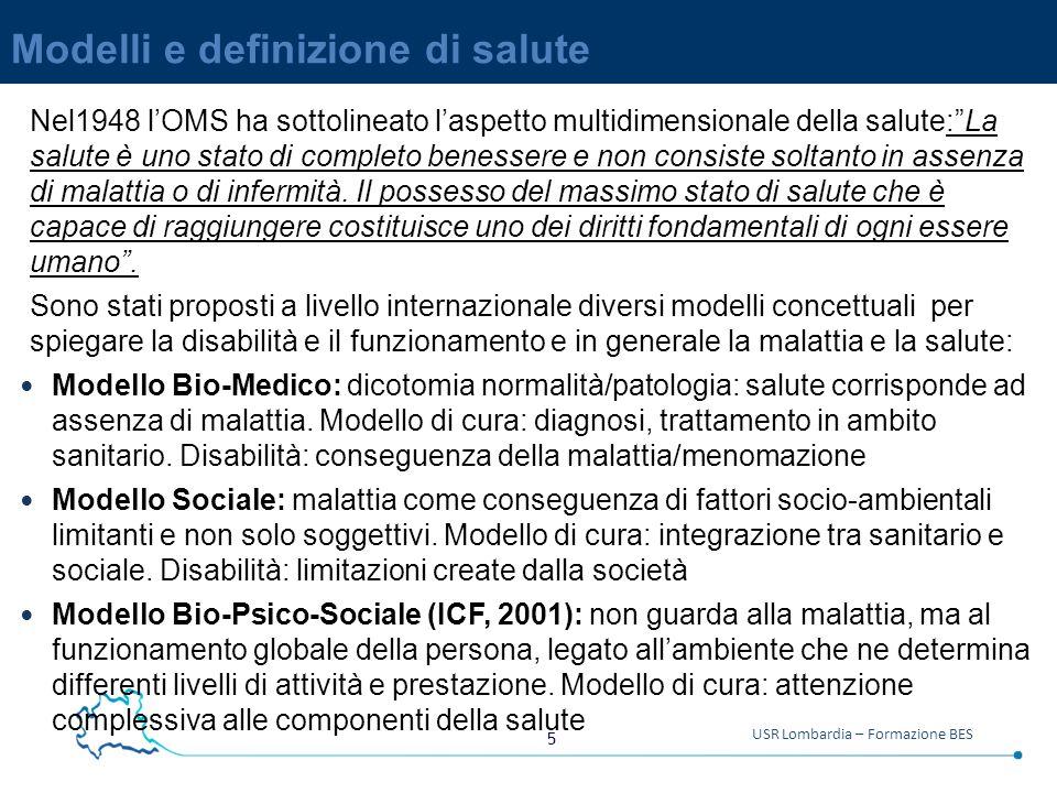 5 USR Lombardia – Formazione BES Modelli e definizione di salute Nel1948 l'OMS ha sottolineato l'aspetto multidimensionale della salute: La salute è uno stato di completo benessere e non consiste soltanto in assenza di malattia o di infermità.