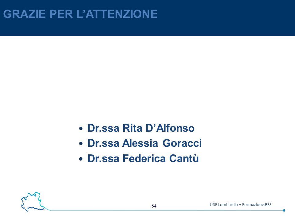 54 USR Lombardia – Formazione BES GRAZIE PER L'ATTENZIONE Dr.ssa Rita D'Alfonso Dr.ssa Alessia Goracci Dr.ssa Federica Cantù