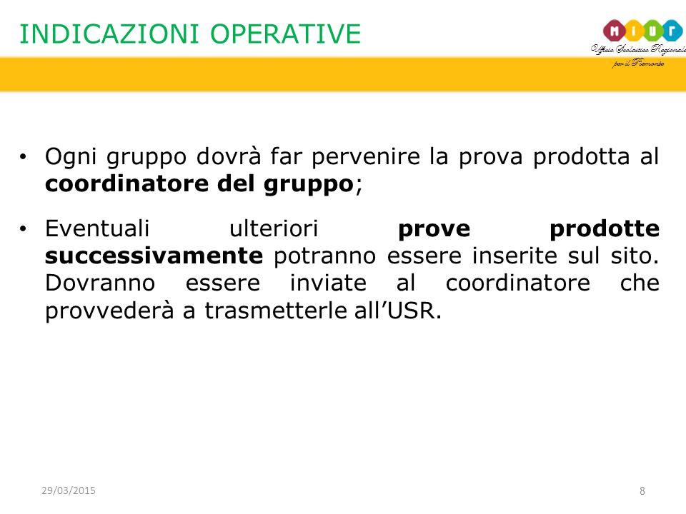 Ufficio Scolastico Regionale per il Piemonte INDICAZIONI OPERATIVE Ogni gruppo dovrà far pervenire la prova prodotta al coordinatore del gruppo; Eventuali ulteriori prove prodotte successivamente potranno essere inserite sul sito.
