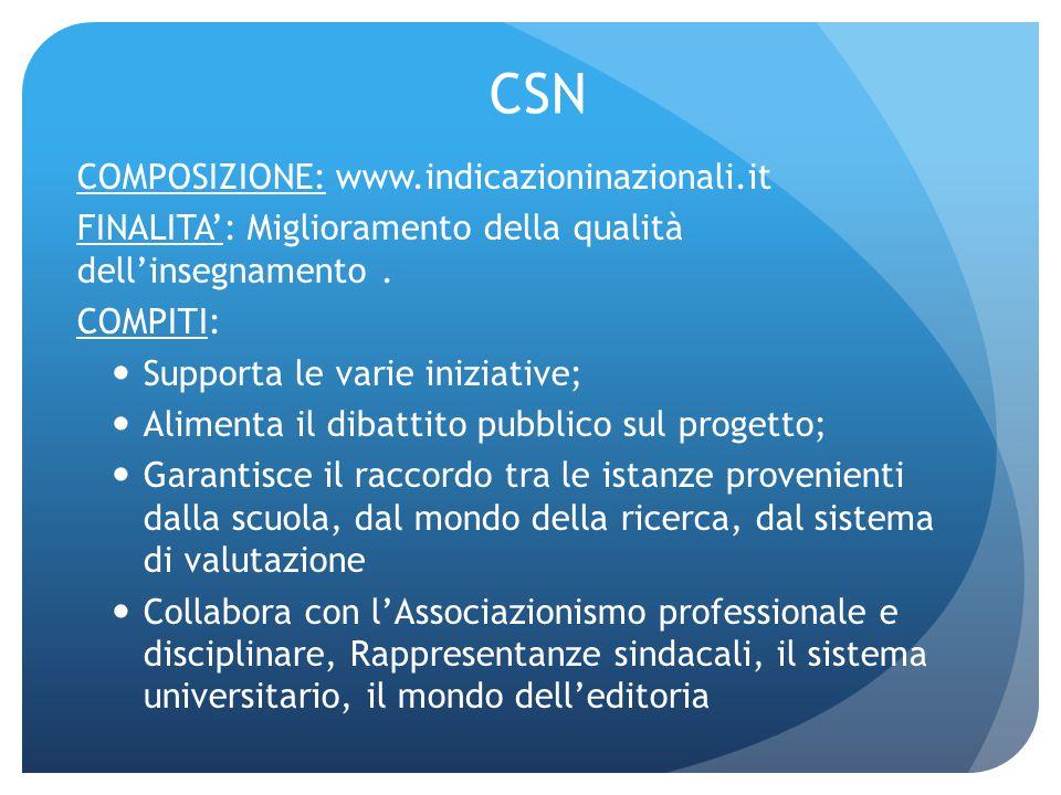 CSN COMPOSIZIONE: www.indicazioninazionali.it FINALITA': Miglioramento della qualità dell'insegnamento. COMPITI: Supporta le varie iniziative; Aliment