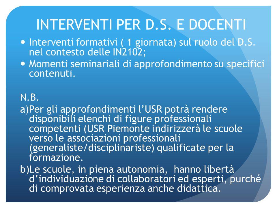 INTERVENTI PER D.S. E DOCENTI Interventi formativi ( 1 giornata) sul ruolo del D.S. nel contesto delle IN2102; Momenti seminariali di approfondimento