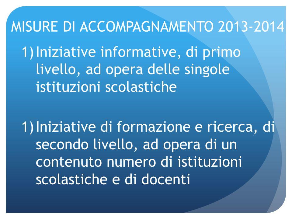 MISURE DI ACCOMPAGNAMENTO 2013-2014 1)Iniziative informative, di primo livello, ad opera delle singole istituzioni scolastiche 1)Iniziative di formazi