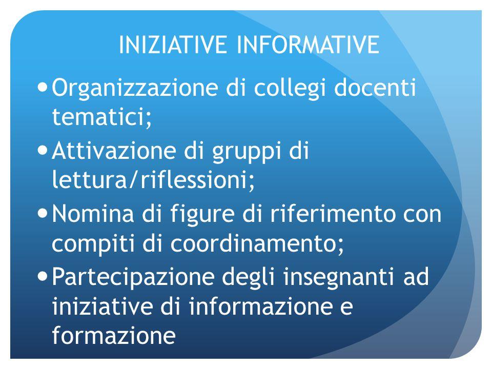 INIZIATIVE INFORMATIVE Organizzazione di collegi docenti tematici; Attivazione di gruppi di lettura/riflessioni; Nomina di figure di riferimento con c