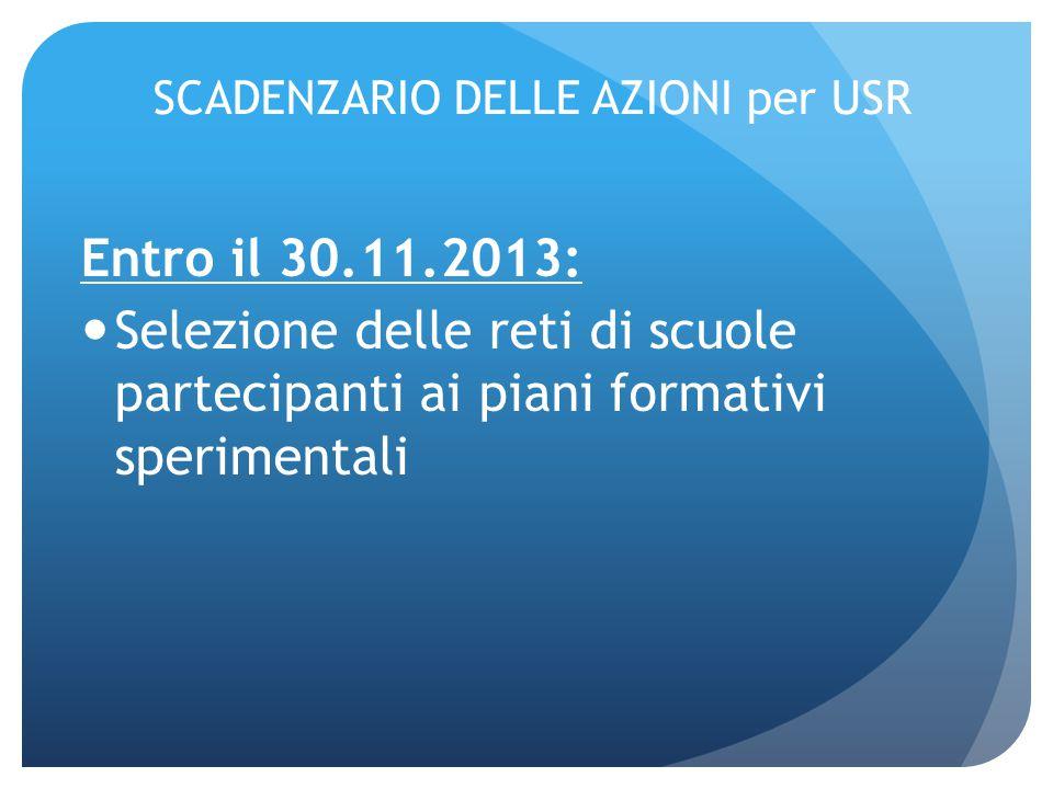 SCADENZARIO DELLE AZIONI per USR Entro il 30.11.2013: Selezione delle reti di scuole partecipanti ai piani formativi sperimentali