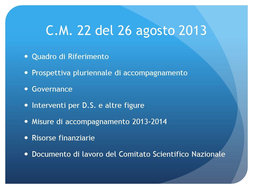 C.M. 22 del 26 agosto 2013 Quadro di Riferimento Prospettiva pluriennale di accompagnamento Governance Interventi per D.S. e altre figure Misure di ac