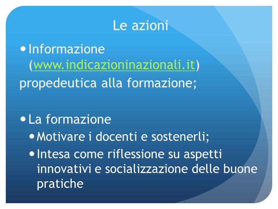 Le azioni Informazione (www.indicazioninazionali.it)www.indicazioninazionali.it propedeutica alla formazione; La formazione Motivare i docenti e soste