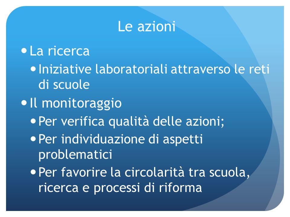Le azioni La ricerca Iniziative laboratoriali attraverso le reti di scuole Il monitoraggio Per verifica qualità delle azioni; Per individuazione di as