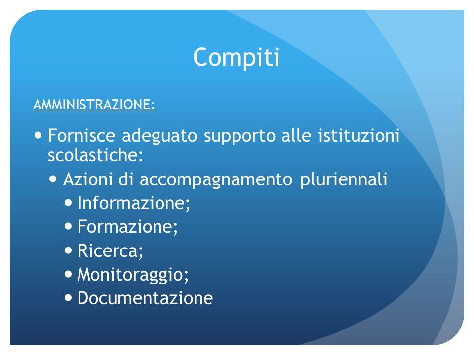 Compiti AMMINISTRAZIONE: Fornisce adeguato supporto alle istituzioni scolastiche: Azioni di accompagnamento pluriennali Informazione; Formazione; Rice