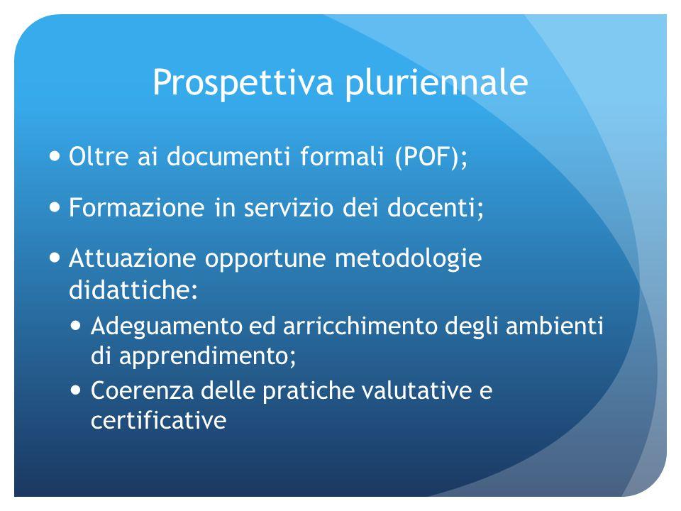 Prospettiva pluriennale Oltre ai documenti formali (POF); Formazione in servizio dei docenti; Attuazione opportune metodologie didattiche: Adeguamento