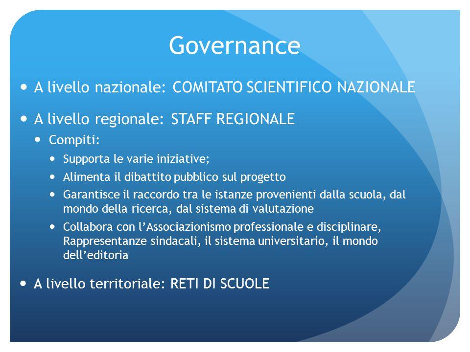 Governance A livello nazionale: COMITATO SCIENTIFICO NAZIONALE A livello regionale: STAFF REGIONALE Compiti: Supporta le varie iniziative; Alimenta il