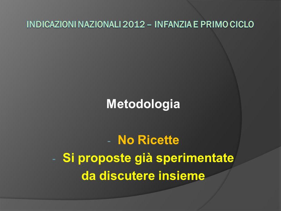 Metodologia - No Ricette - Si proposte già sperimentate da discutere insieme