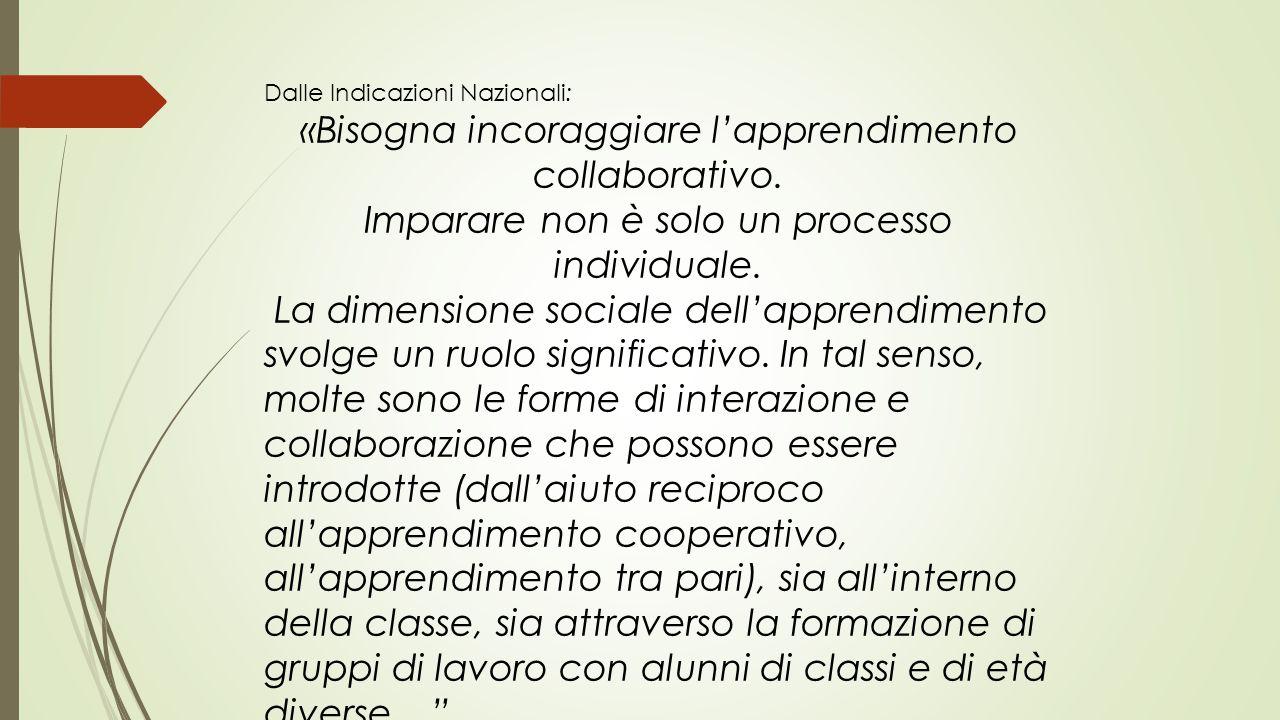 Dalle Indicazioni Nazionali: «Bisogna incoraggiare l'apprendimento collaborativo. Imparare non è solo un processo individuale. La dimensione sociale d