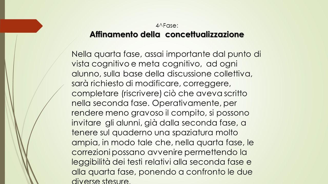 4^Fase: Affinamento della concettualizzazione Nella quarta fase, assai importante dal punto di vista cognitivo e meta cognitivo, ad ogni alunno, sulla