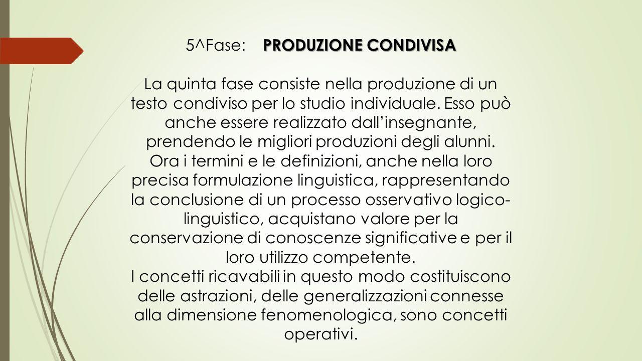 PRODUZIONE CONDIVISA 5^Fase: PRODUZIONE CONDIVISA La quinta fase consiste nella produzione di un testo condiviso per lo studio individuale. Esso può a