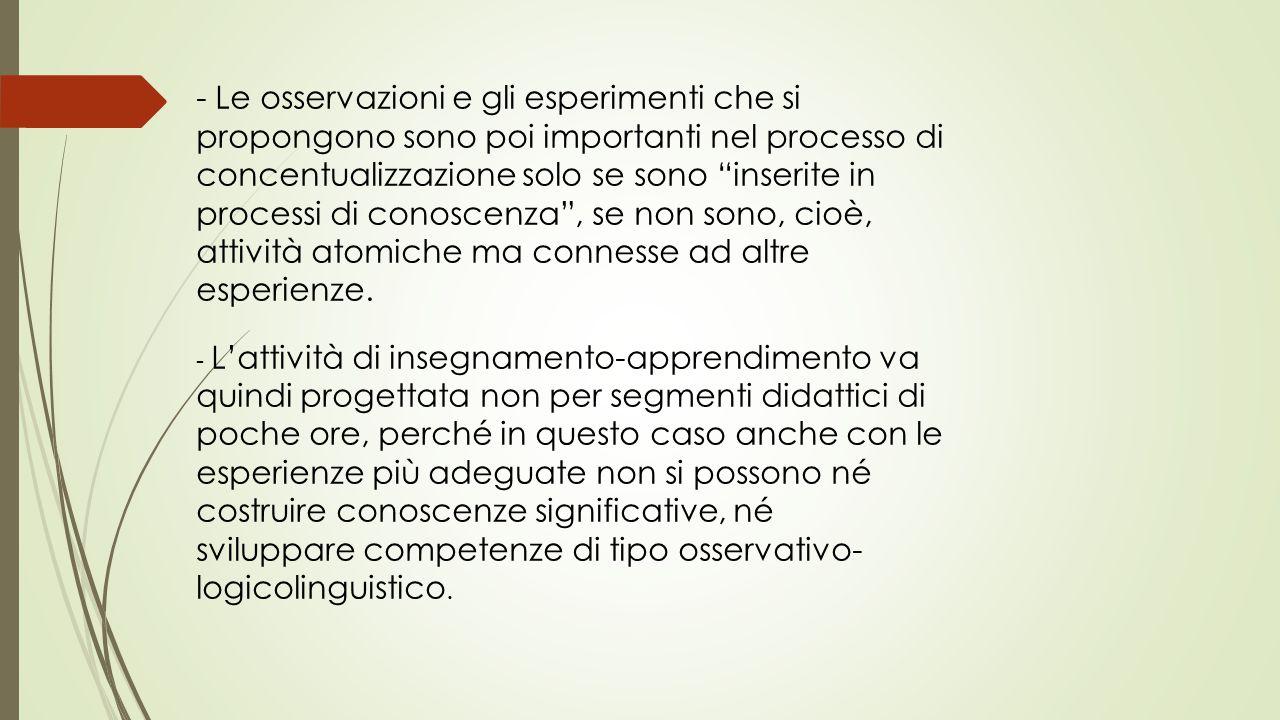 """- Le osservazioni e gli esperimenti che si propongono sono poi importanti nel processo di concentualizzazione solo se sono """"inserite in processi di co"""