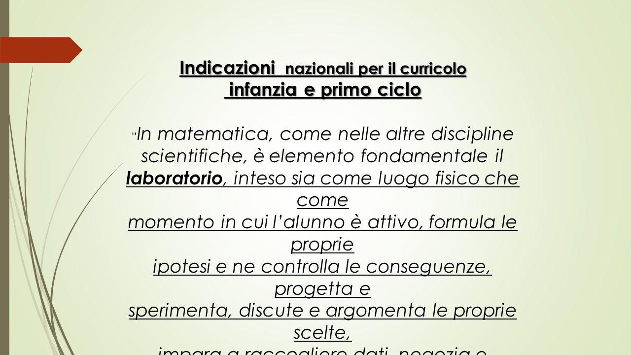 """Indicazioni nazionali per il curricolo infanzia e primo ciclo infanzia e primo ciclo """" In matematica, come nelle altre discipline scientifiche, è elem"""
