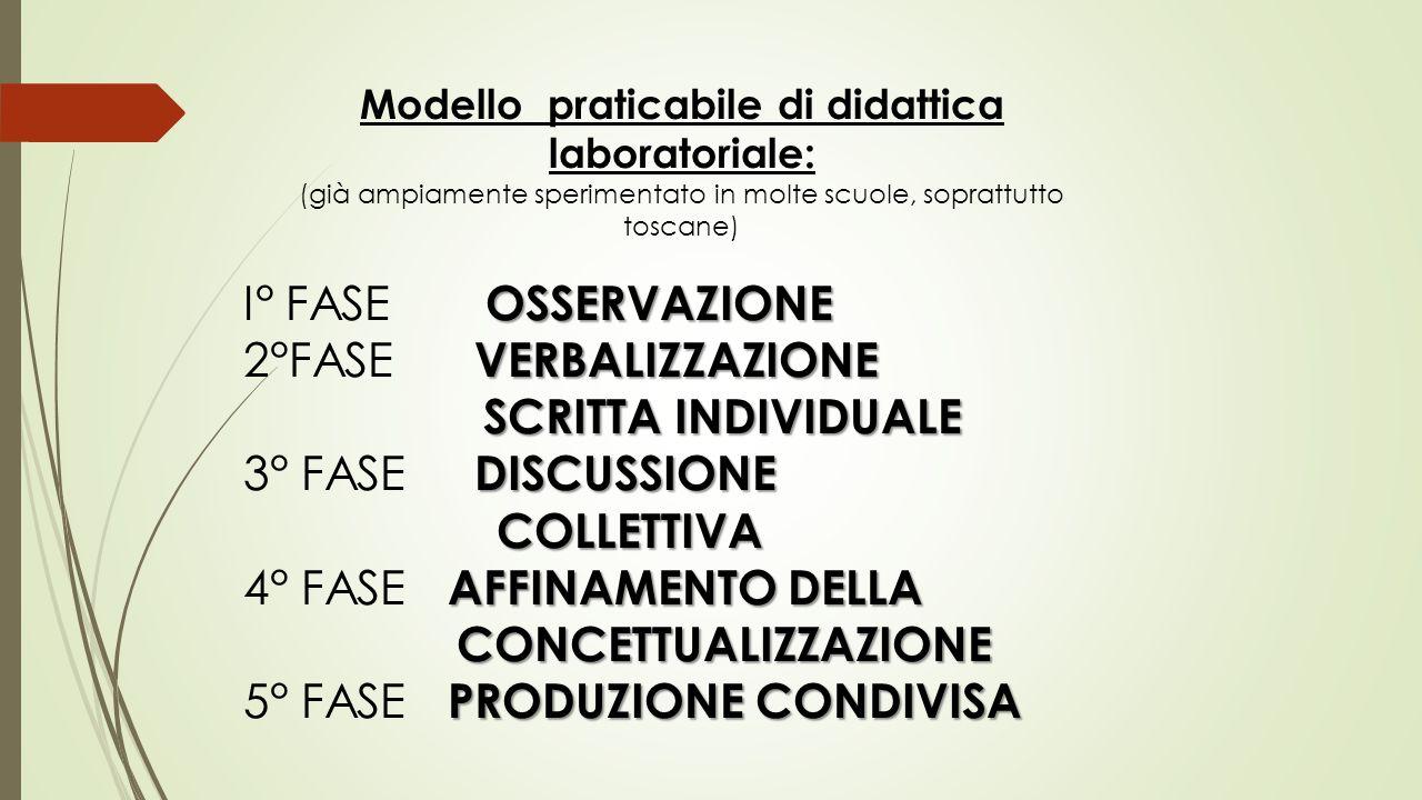 Modello praticabile di didattica laboratoriale: (già ampiamente sperimentato in molte scuole, soprattutto toscane) OSSERVAZIONE I° FASE OSSERVAZIONE V