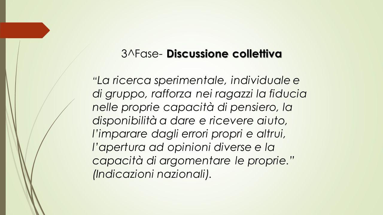 """Discussione collettiva 3^Fase- Discussione collettiva """" La ricerca sperimentale, individuale e di gruppo, rafforza nei ragazzi la fiducia nelle propri"""