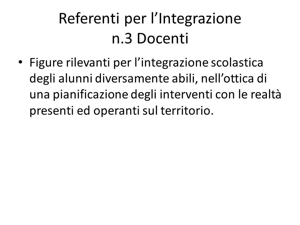 Referenti per l'Integrazione n.3 Docenti Figure rilevanti per l'integrazione scolastica degli alunni diversamente abili, nell'ottica di una pianificaz