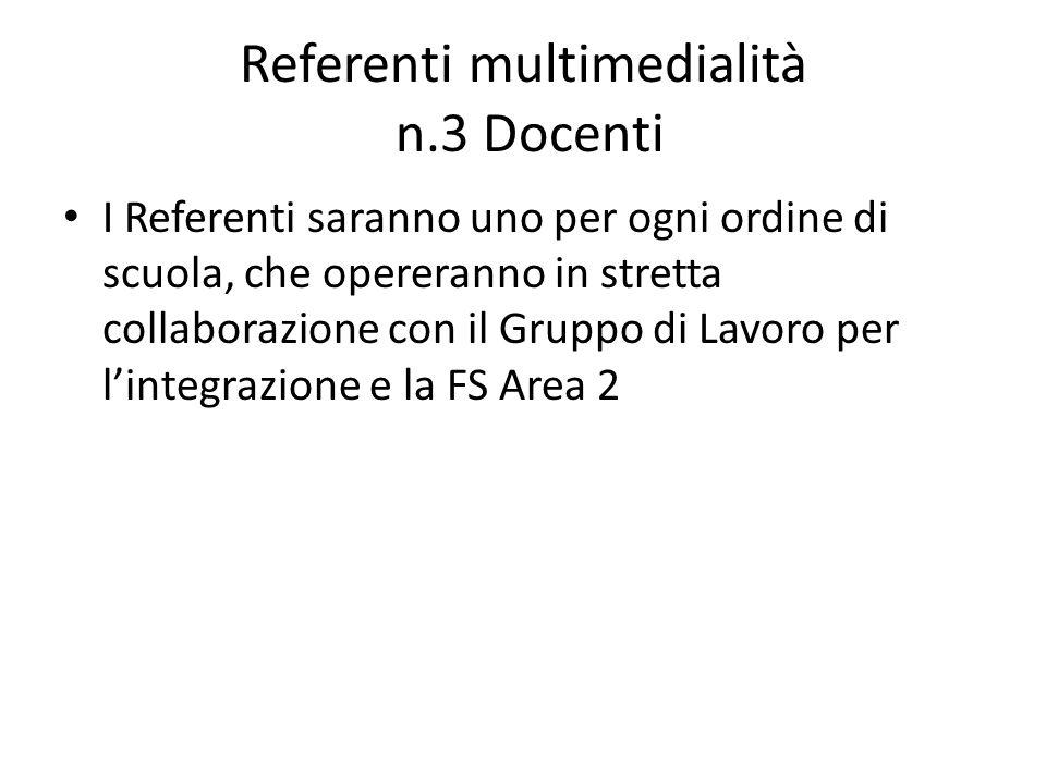 Referenti multimedialità n.3 Docenti I Referenti saranno uno per ogni ordine di scuola, che opereranno in stretta collaborazione con il Gruppo di Lavo