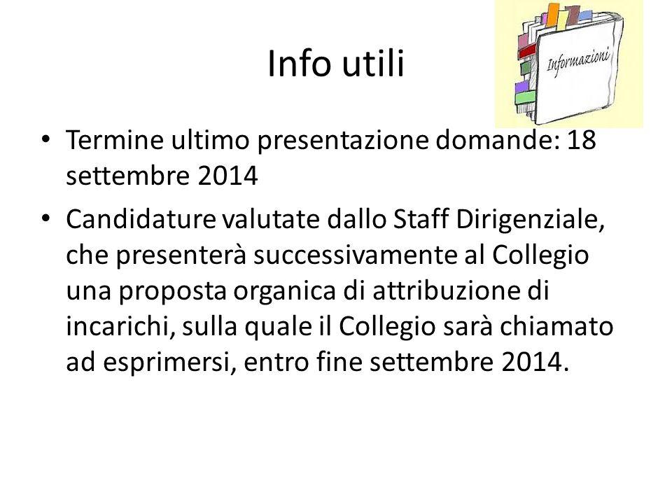 Info utili Termine ultimo presentazione domande: 18 settembre 2014 Candidature valutate dallo Staff Dirigenziale, che presenterà successivamente al Co