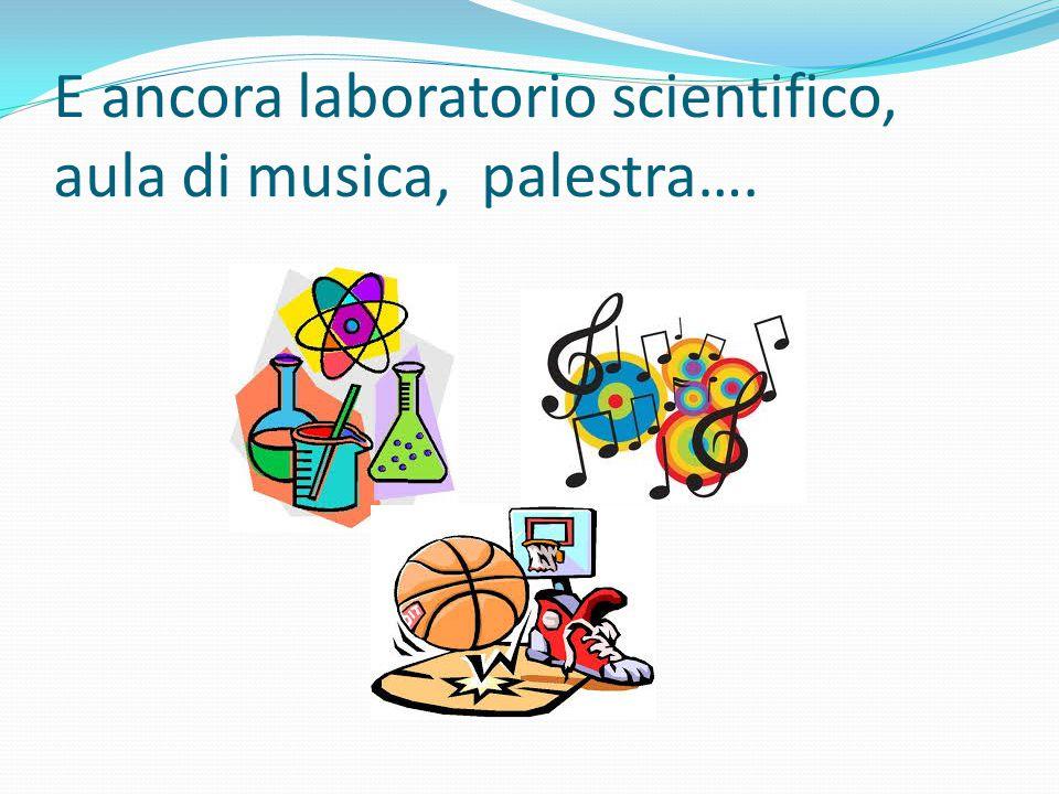 E ancora laboratorio scientifico, aula di musica, palestra….