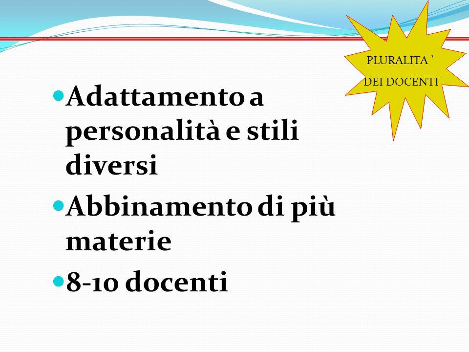 Adattamento a personalità e stili diversi Abbinamento di più materie 8-10 docenti PLURALITA ' DEI DOCENTI