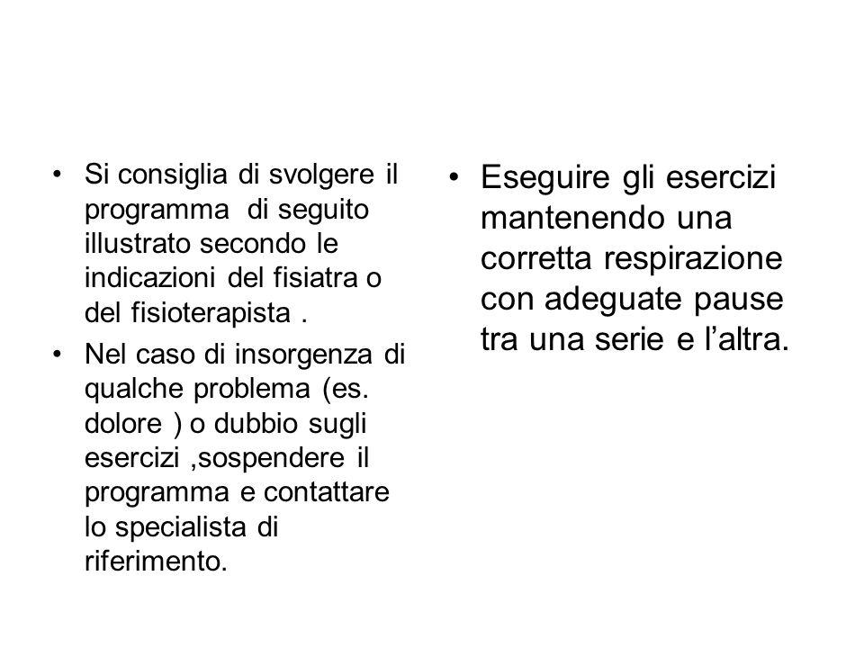 Si consiglia di svolgere il programma di seguito illustrato secondo le indicazioni del fisiatra o del fisioterapista. Nel caso di insorgenza di qualch