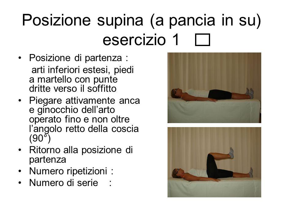 Esercizio 2 Posizione di partenza: arti inferiori estesi, leggermente divaricati,piedi a martello con punte dritte verso il soffitto Aprire l'arto operato strisciando sul lettino con ginocchio esteso.