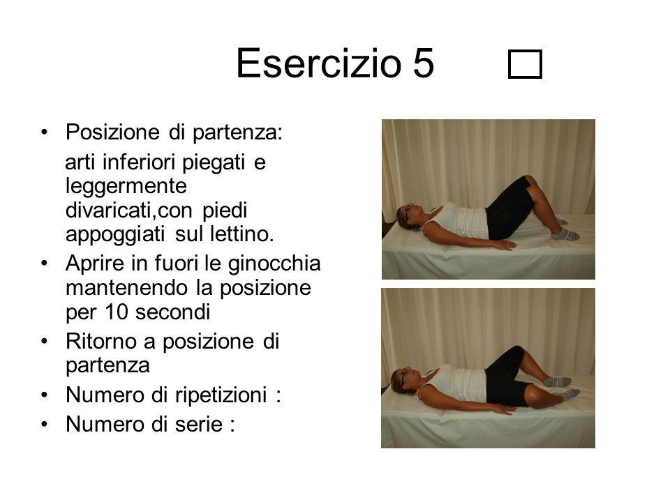 Esercizio 5 Posizione di partenza: arti inferiori piegati e leggermente divaricati,con piedi appoggiati sul lettino. Aprire in fuori le ginocchia mant