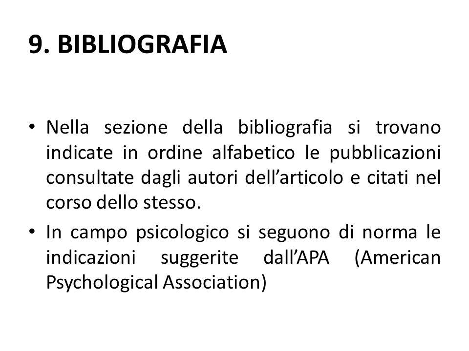 9. BIBLIOGRAFIA Nella sezione della bibliografia si trovano indicate in ordine alfabetico le pubblicazioni consultate dagli autori dell'articolo e cit