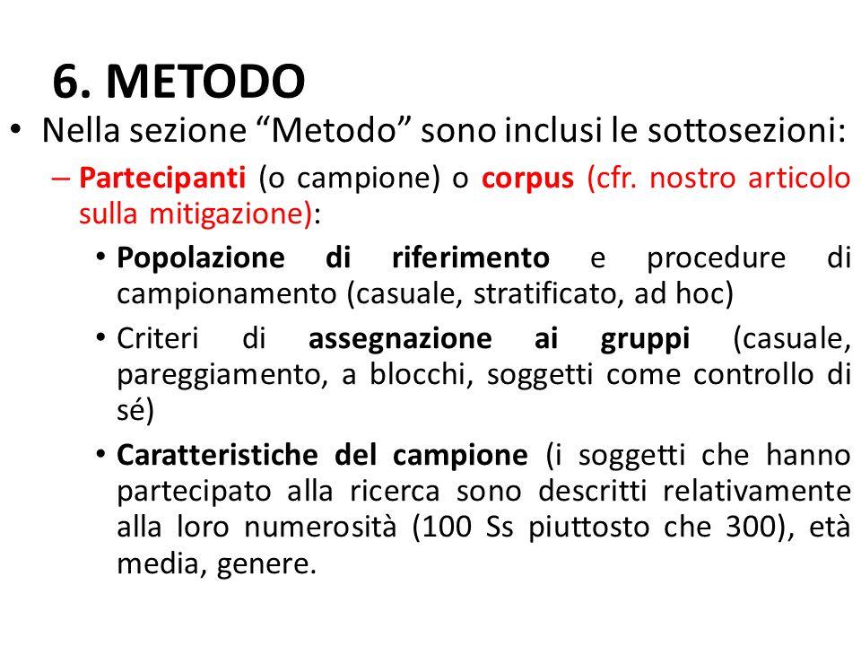 """6. METODO Nella sezione """"Metodo"""" sono inclusi le sottosezioni: – Partecipanti (o campione) o corpus (cfr. nostro articolo sulla mitigazione): Popolazi"""