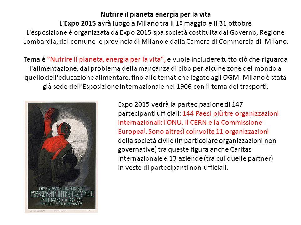 Nutrire il pianeta energia per la vita L'Expo 2015 avrà luogo a Milano tra il 1º maggio e il 31 ottobre L'esposizione è organizzata da Expo 2015 spa s